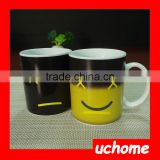 UCHOME Creative Monday Smile Face Colour Changing Ceramic Mug, Cheap Promotional And Gift Thermal Transfer Smiling Cup