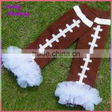Brown knitted baseball kids socks with chiffon ruffle for winter cotton baby leg warmers