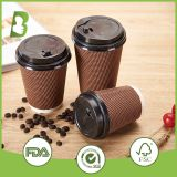 Best price PE coated ripple paper coffee cup with lid