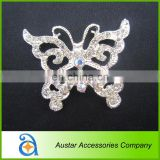 Color AB butterfly Rhinestone Crystal Buckle,Rhinestone ribbon slider button embellishment