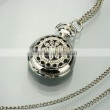 WP021 New Ladies Stainless Steel Case White Dial Black Pattern Front Necklace Pendant Pocket Watch