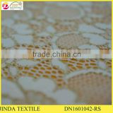 High Quality Nylon Spandex Gold Lace Fabric For Women Dress