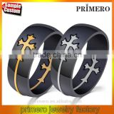 Unique charming jewelry for men and women detachable cross high polished stainless steel gold silver plated rings