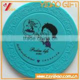 customs print logo and embossed logo silicone cup coasters, round shaped silicone cup mats,