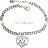 Beautiful Austrian Cut Crystal Heart Delicately Hanging ALPHA XI DELTA SORORITY Bracelet. Nickel, Lead, & Cadmium Free!