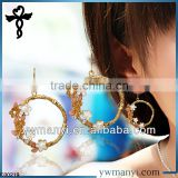 2014 new fashion ladies stud designs k gold enamel rhinestones baskets wholesale bamboo earrings in zinc alloy jewelry E00219                                                                         Quality Choice