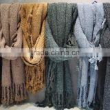 High Quality Thich Winter 100% Cashmere Scarf With Tassel 100% Cashmere Scarf For Unisex                                                                         Quality Choice