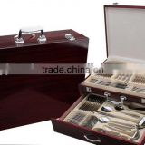 72pcs Mirror Polish Hotel Stainless Steel tableware set in wooden boxes with high quality and low price