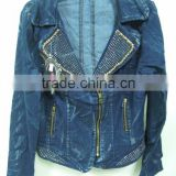 2015 new arrival fashion women denim jacket, zipper denim jacket wholesale mens black denim jacket wholeasale China
