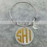 Expandable clear acrylic disc crystal charm bracelet monogram