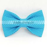 Sky Blue Elastic Bow Ties For Young Men,Customized Neck Tie With White Dots