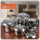 Allnice-5pcs set mirror polishing straight stainless steel soup pot with steel cover and handle