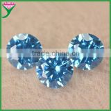 Wuzhou machine cut 6mm star cut round brilliant cut loose synthetic sapphire blue zircon stone