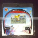 Hot sale Spain earphone mp3 player with fm , tf music sport mp3