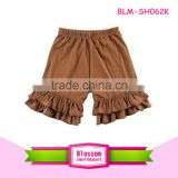 Children's girls summer Boutique kids baby solid stipe cotton girls ruffle shorts