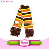 Baby Thanksgiving Day Ruffle Leg Warmers, Stripe Baby Knitting Pattern Leg Warmer, Cotton Warm Leg Warmers