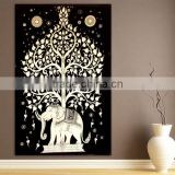 Indian Black Tapestry White Tree Elephant Wall Hanging Beach Sheet Etchnic Decor Art Good Luck Elephant