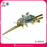 Hot sale black metal diamond butterfly hair duck clips