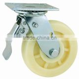 43 Series Double Ball Raceway Structure Top Plate Swivel White Pattern Nylon Caster with Steel Total Brake