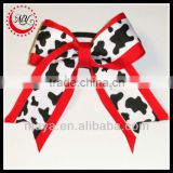 Beautiful red animal printed cheerleading hair bows(approved by BV)