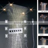 600*800mm rainfall,waterfall,water curtain and multiple function led bath shower with 6 pcs massage body jets