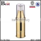 15ml / 30ml / 50ml gold aluminium airless bottle, airless pump bottle for lotion