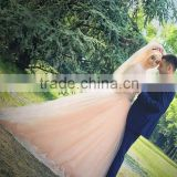 (MY2863) MARRY YOU High Neck Lace Bodice Muslim Bridal Gowns Champange Custom Made Wedding Dress