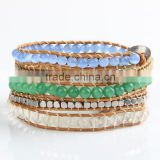 hot sale! fashion multi-layer rivet wrapped leather bracelet. Free Shipping ! Wholesale !