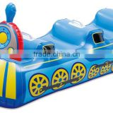PVC inflatable ride-on car, inflatable animal rider, green inflatable train toy for kids