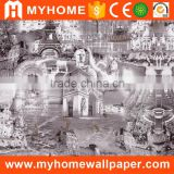 High Quality Fashion European Style Self Adhesive PVC 3d Mural Wallpaper with the image of City Wall
