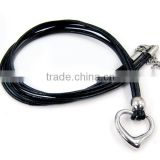 Chinese new product adjustable leather cord necklace for women with heart pendant wholesale LN3193