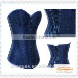 Blue Brocade lace Trimming Overbust Sexy Corset to wear out