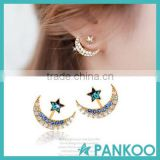 New gold color blue crystal rhinestone star and moon earrings pentacle pendant silver stud earrings for women fashion Jewelry