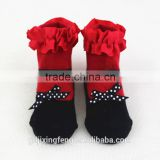 Wholesale custom soft and breathable cute baby shoe socks with bowknot lace made of cotton