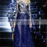 AR-82 Sexy See Through abendkleid kurz mit crystal Long Lace Appliques Sleeve bayan abiye Sequined Sash Blue Puffy Prom Dress