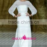 R13614 2013 Barcelona summer high collar beaded long sleeves organza muslim wedding gown