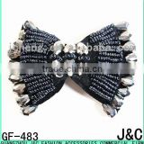 Jet hematite Black Color Glass Beads Decorated Shoe Bow