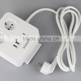 New High Quality EU Plug 2 Outlet 5 USB Power 250V 10A Extension Cable Wall Socket Mains Lead Plug Strip Adapter Hot Sale