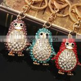 Lovely Penguin Bird Charm Pendent Keychain Crystal Purse Bag Key Ring Cute Gift keychains