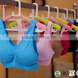 Summer Style Women Stretch Athletic Vest Gym Fitness Sports Bra No Rims Full Cup Padded Bras Colorful Plus Size Tops