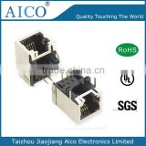 china suppliers free sample wholesale pcb mount ethernet 1x1 metal 6P4C rj45 modular jack with 90 degree