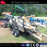 tractor hydraulic driven or ATV towable self loading log trailer with crane