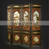 Traditional Chinese Furniture Hand Painting Four Panel Folding Screen, Retro Art Painting Decorative Wooden Floor Screen