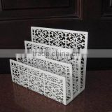 white Hollow-out decorative pattern metal wire Desk top paper organizer file folder holder office file rack office file rack