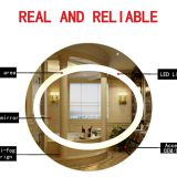 Smart bathroom mirror , digital oval bathroom mirror with light for hotel decrovating