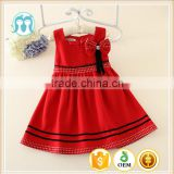 Red woolen girls' dress for infant baby winter dresses sleeveless dress for winter