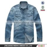 2016 men's 100% cotton washed denim/jeans body fit casual shirt