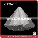 V1149W1-1 Elegant Double Layers Veil with Crystal