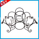 Wholesale Promotional Price Home Decorative Round Metal Wall Wine Mounted Rack