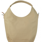 White canvas hobo bag with tote handle and shoulder